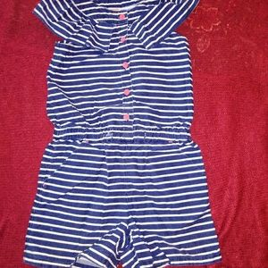 Gymboree Clothing, Striped Romper, ruffle collar.